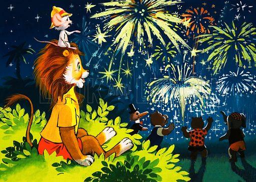 Leo the Friendly Lion watching fireworks (artist: Virginio Livraghi)
