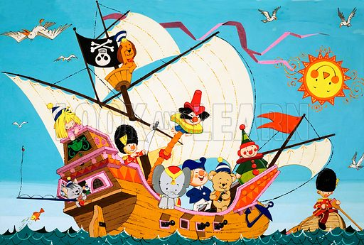 Topsy Turvy Pirate Ship. Original artwork loaned for scanning by the Illustration Art Gallery.