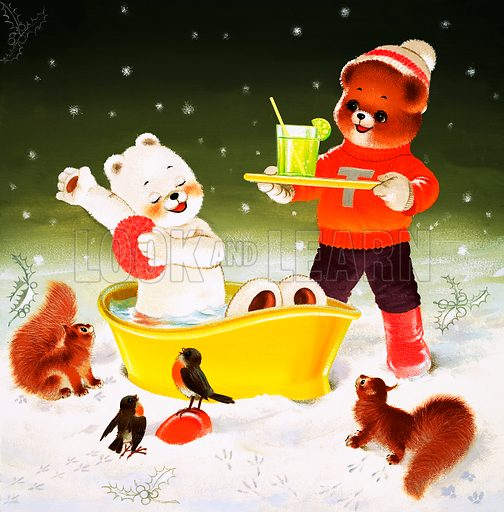 Teddy bathing in the snow (illustration, art, picture, artwork: Bill Phillips)