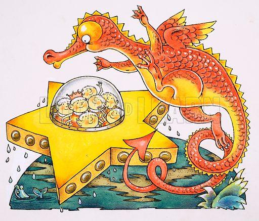 Dragon circling star-shaped spaceship.