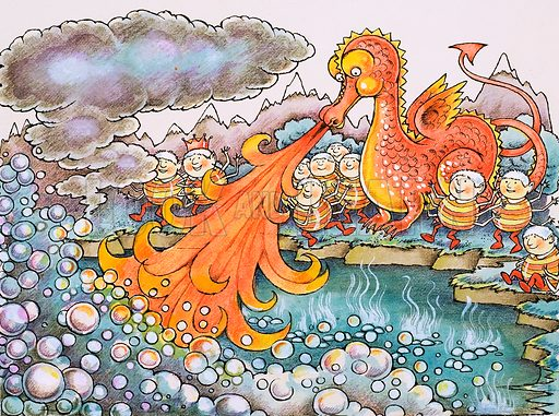 Dragon belching fire.