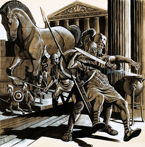 Greek soldiers emerging from the Trojan Horse to sack the city … stock  image | Look and Learn