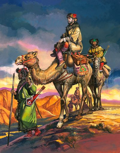 The travels of Marco Polo: crossing the deserts of Persia. Original cover artwork from Look and Learn no. 143 (10 October 1964).