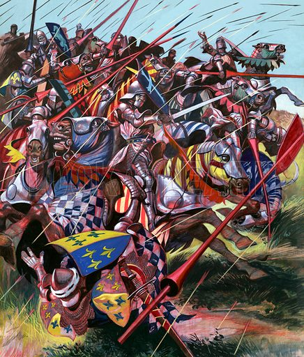 """Into Battle: Agincourt – The Impossible Victory. """"Between two woods in the north of France, ten thousand exhausted Englishmen faced a French army four times bigger."""" Original artwork from Look and Learn no. 63 (30 March 1963)."""