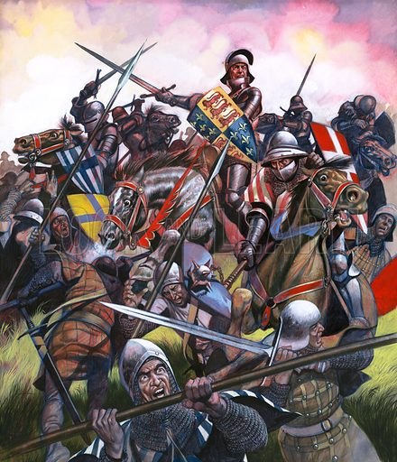"Into Battle: They Fought for Enland's Crown. The Battle of Bosworth -- ""The king charged towards the centre of the battle, wielding his sword with all his might."" Original artwork from Look and Learn no. 62 (23 March 1963)."