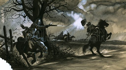 "The Farmer Who Ruled England: Death and Glory on the Moor. ""When Prince Rupert returned to the battlefield at Naseby his men were quickly routed and, following the King who had stayed long enough to see his army defeated, they fled for their lives."" Original artwork from Look and Learn no. 52 (12 January 1963)."