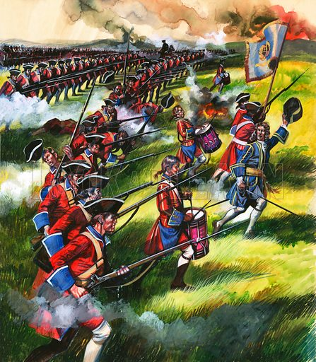 """Into Battle: It's a long, long way to Blenheim. """"250 miles across the roughest country – but we will march there straight away and when we arrive, we'll fight,"""" declared the Duke of Marlborough. Original artwork from Look and Learn no. 66 (20 April 1963)."""