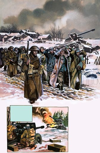 Into Battle: The Ardennes Offensive of the Second World War. Original artwork from Look and Learn no. 70 (18 May 1963).