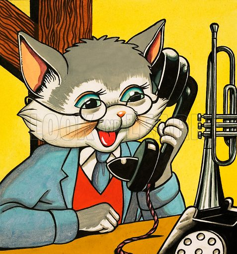 Cat answering the telephone.
