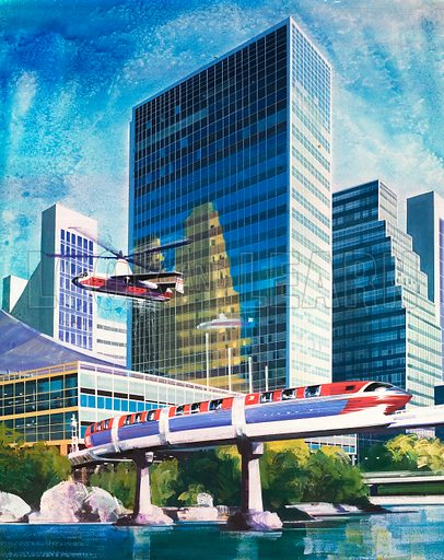 A.D. 2001 -- How Will We Travel?. Futuristic monorail and helicopter. From Look and Learn no. 502 (28 August 1971). Original artwork loaned for scanning by the Illustration Art Gallery.
