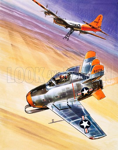 Into the Blue: Mini Jet-Fighter. The XF-85 bomber. From Look and Learn no. 285 (1 July 1967).
