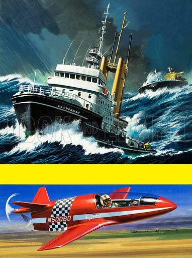 Big Puller – Little Pusher. The tug Lloydsman and the BD-Micro, a do-it – yourself plane designed by Jim Bede. Front cover from Look and Learn no. 521 (8 January 1972).