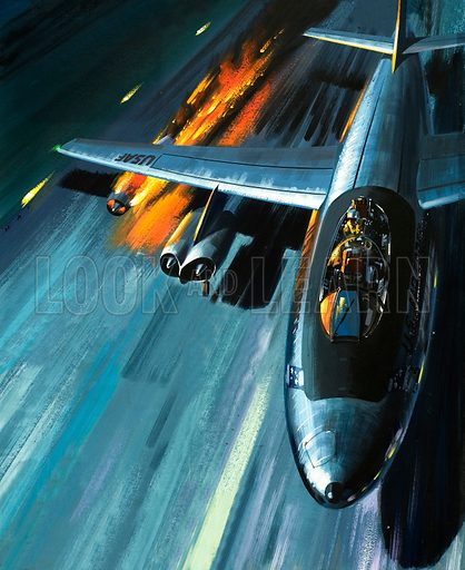 Men and Machines: Nightmare in a Blazing Bomber! An American crew battle an engine fire on their B-47 bomber. From Look and Learn no. 454 (26 September 1970).