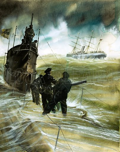 Unidentified soldiers on the deck of a submarine with boat on horizon. Original artwork.