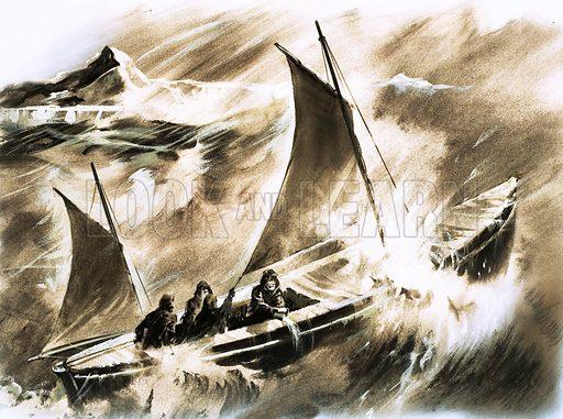 Unidentified boat in a storm. Original artwork.