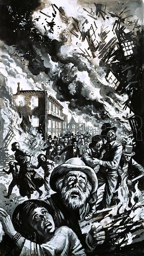 Unidentified disaster, possibly the San Francisco earthquake. Original artwork.