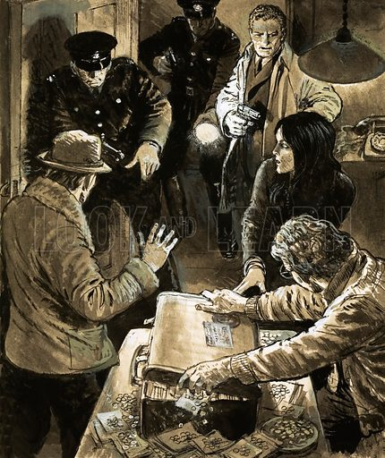 The Great Detectives: The World is their Beat. Interpol officers arresting smugglers. From Look and Learn no. 524 (29 January 1972). Original artwork loaned for scanning by the Illustration Art Gallery.