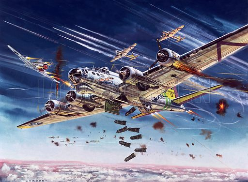 Boeing B-17 of the American 8th Air Force being attacked by German fighters. Original artwork for Speed and Power book 1979.