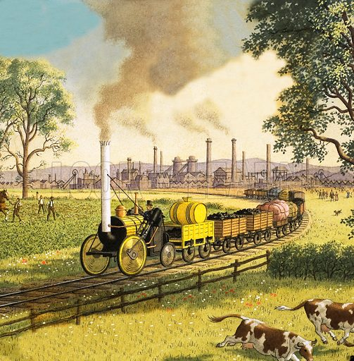 The Industrial Revolution: the coming of the railways to Britain, 1830s. The new steam railway brought easy transport from the industrial midlands to ports and other cities. Illustration from Look and Learn no. 633 (2 March 1974).