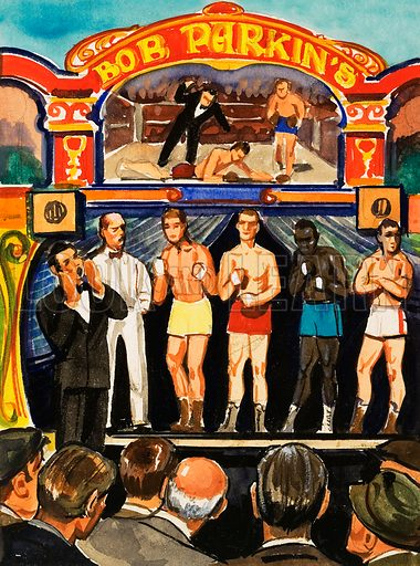 The Boxing Booth. From Look and Learn no. 449 (22 August 1970). Original artwork loaned for scanning by the Illustration Art Gallery.
