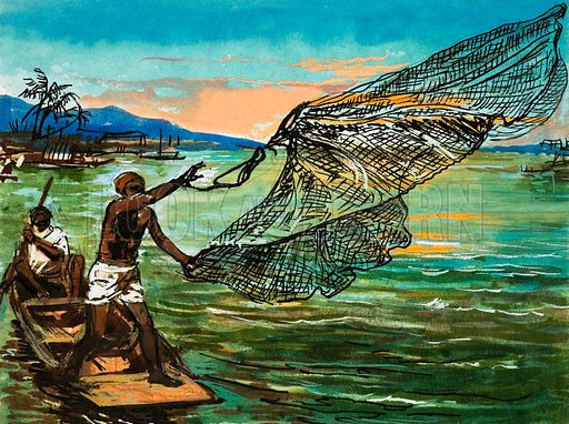 Natives fishing on the Niger river in Africa. From Look and Learn no. 466 (19 December 1970).