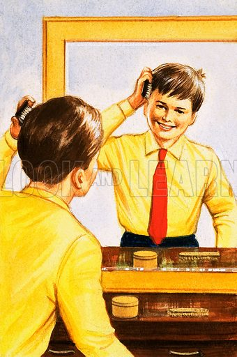 Science: Silver. Boy brushing his hair in a mirror backed with a thin layer of silver. From Look and Learn no. 466 (19 December 1970).
