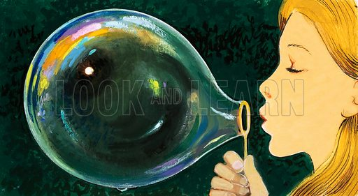 Blowing a bubble. Original unpublished artwork intended for Once Upon a Time 170.