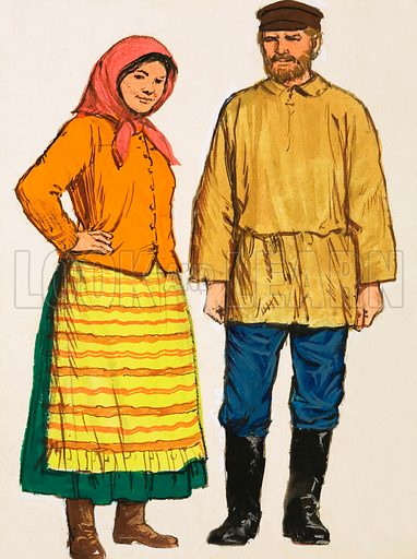 Unidentified couple in national costumes. Original artwork (dated 6 June).