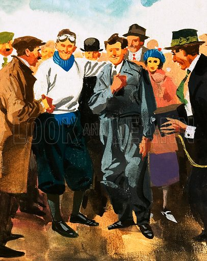 Unidentified man being greeted by crowds and a photographer. Original artwork.