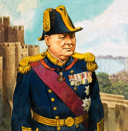 Winston Churchill. From The Second Look and Learn Book of 1001 Questions and Answers. Original artwork loaned for scanning by the Illustration Art Gallery.