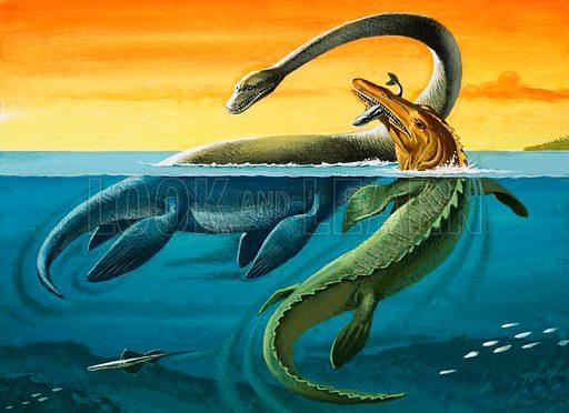 Prehistoric creatures in the ocean.