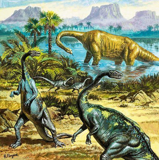 Unidentified prehistoric creatures. Original artwork.