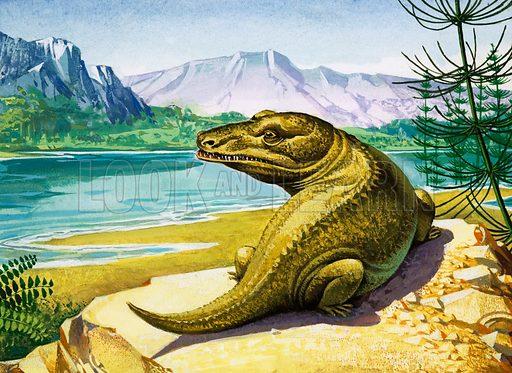 Unidentified crocodile-like dinosaur. Original artwork.