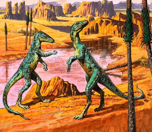 In the Days of the Dinosaurs: Discovery in the Desert. Saltoposuchus. Original artwork from Look and Learn no. 974 (8 November 1980).