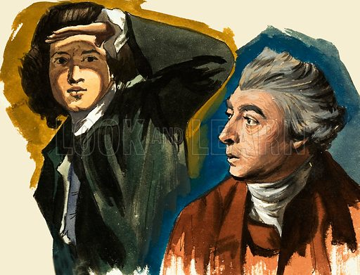 Sir Joshua Reynolds and Thomas Gainsborough. Original artwork from Look and Learn Book of 1001 Questions and Answers.