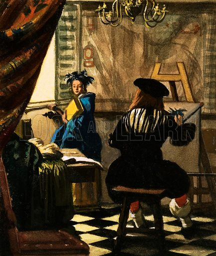 The Artist in his Studio by Jan Vermeer. Original artwork from Look and Learn Book of 1001 Questions and Answers.