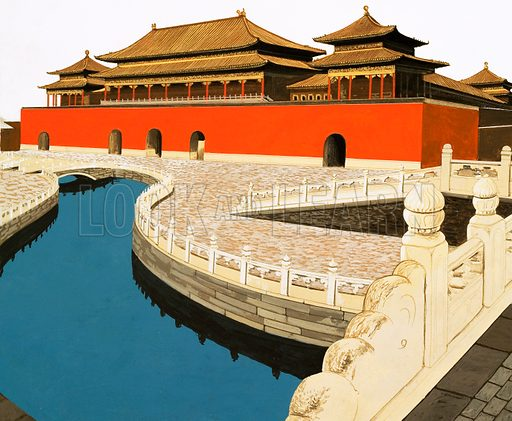 The Forbidden City. The Wu Men, or Median Gate, viewed from one of the marble bridges spanning the River of Golden Water inside the Forbidden City. Original artwork from Look and Learn no. 1032 (19 December 1981).