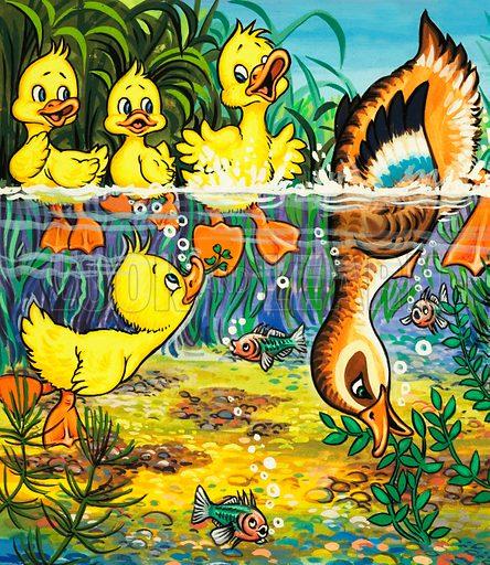 Duck and ducklings. Original artwork.