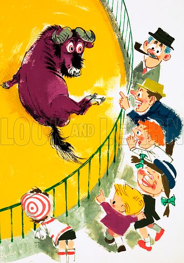 Gnu in a zoo. Cartoon. Original artwork.