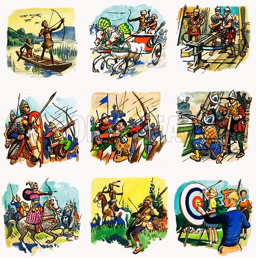 From Then Till Now: Bows and Arrows -- Masters of the Speeding Arrow. Original artwork from Look and Learn no. 82 (10 August 1963). Originally published in black & white.