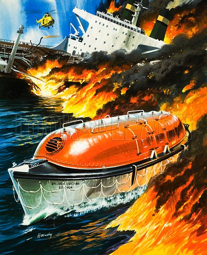 Looking Into Science: Escape at Sea! A modern lifeboat escapes across the fiery water as oil spills from a wrecked tanker. Original artwork from Look and Learn no. 493 (26 June 1971).