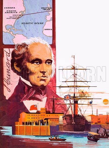 Full Steam Ahead! Atlantic passenger ship pioneer Samuel Cunard. Original artwork from Look and Learn no. 482 (10 April 1971; reused in Look and Learn Book 1982).