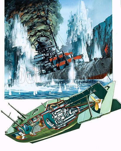 The Story of the Submarine: The Mighty Midgets. Original artwork from Look and Learn no. 995 (4 April 1981).