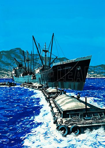 Islands in the Sun: Festival of Freedom. Sugar being loaded onto a cargo ship in the West Indies. Original artwork from Look and Learn no. 616 (3 November 1973). Originally published in blue/black.