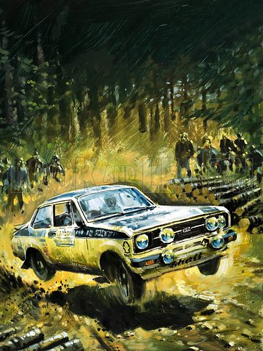70 Stages to Success. The story of Britain's toughest motor rally. Original cover artwork from Look and Learn no. 1029 (28 November 1981).