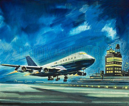 Sabena. Passenger aircraft. Original artwork.