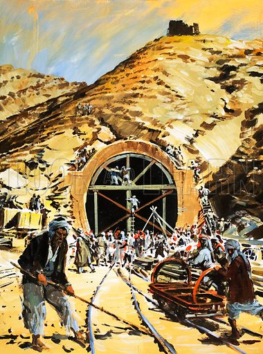 Railway Through the Khyber: Robbers Among the Rocks. Original artwork from Look and Learn no. 964 (30 August 1980).