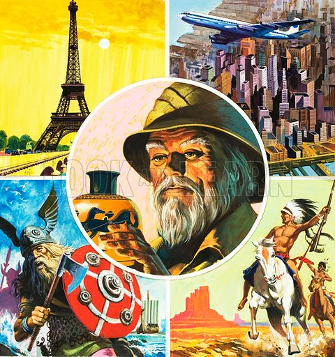 Montage including Eiffel Tower, aeroplane flying over New York, Viking warrior, Indian riding horse and archaeologist looking at ancient vase. Original artwork for front cover of World of Wonder Book.