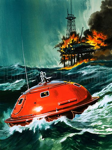 The Getaway Capsule. Original cover artwork from Look and Learn no. 583 (17 March 1973).