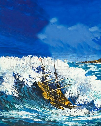 """The """"La Plata"""" caught in a tidal wave."""